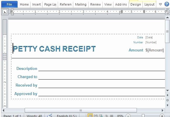 Petty Cash Receipt Template Free Luxury Petty Cash Receipt form for Word