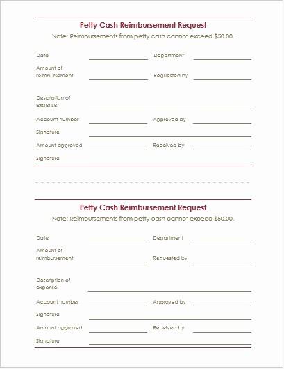 Petty Cash Request form Template Inspirational Reimbursement Request form & Letter Templates