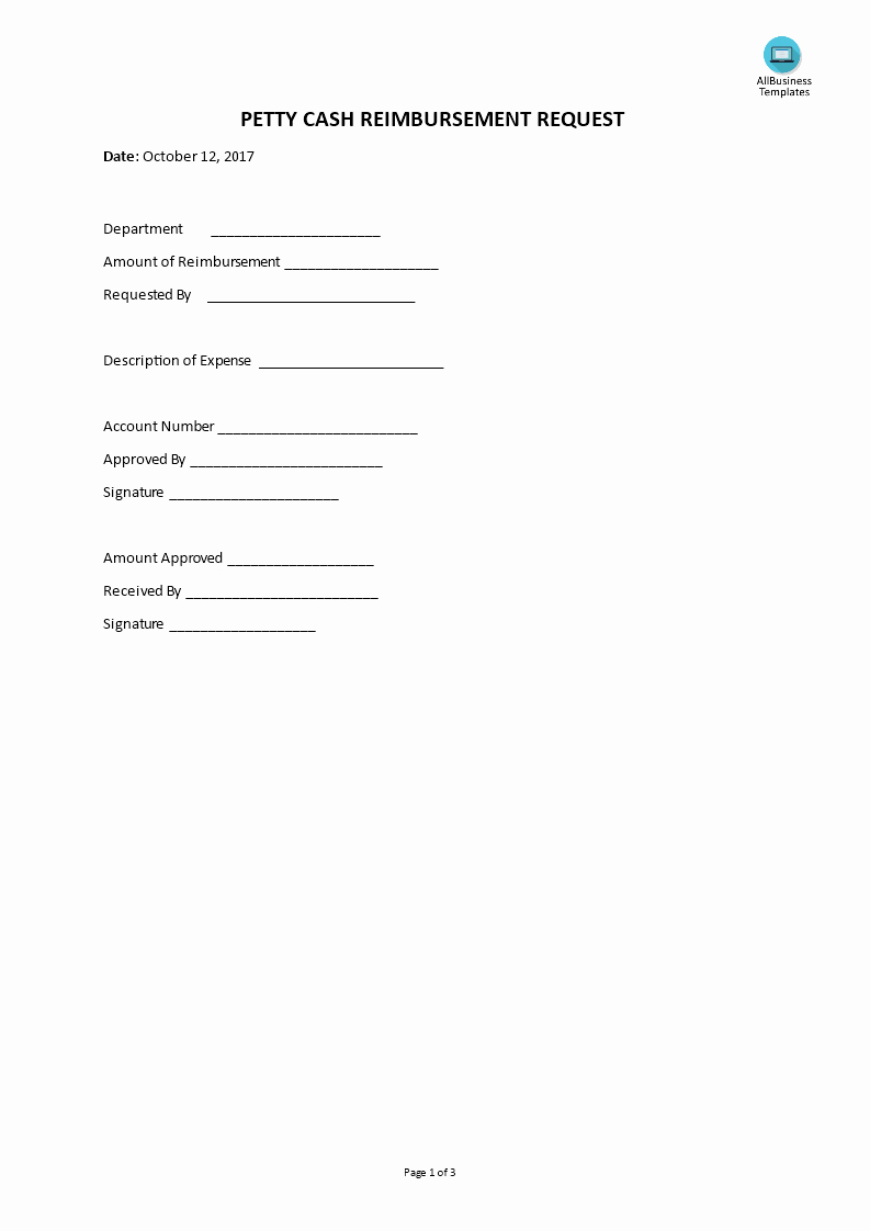 Petty Cash Request form Template Lovely Petty Cash Reimbursement Request
