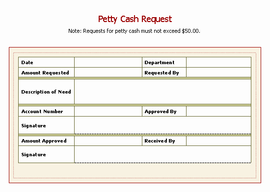 Petty Cash Request form Template Lovely Petty Cash Request Slip