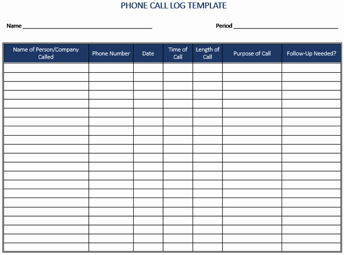 Phone Call Log Template Free Awesome 5 Call Log Templates to Keep Track Your Calls