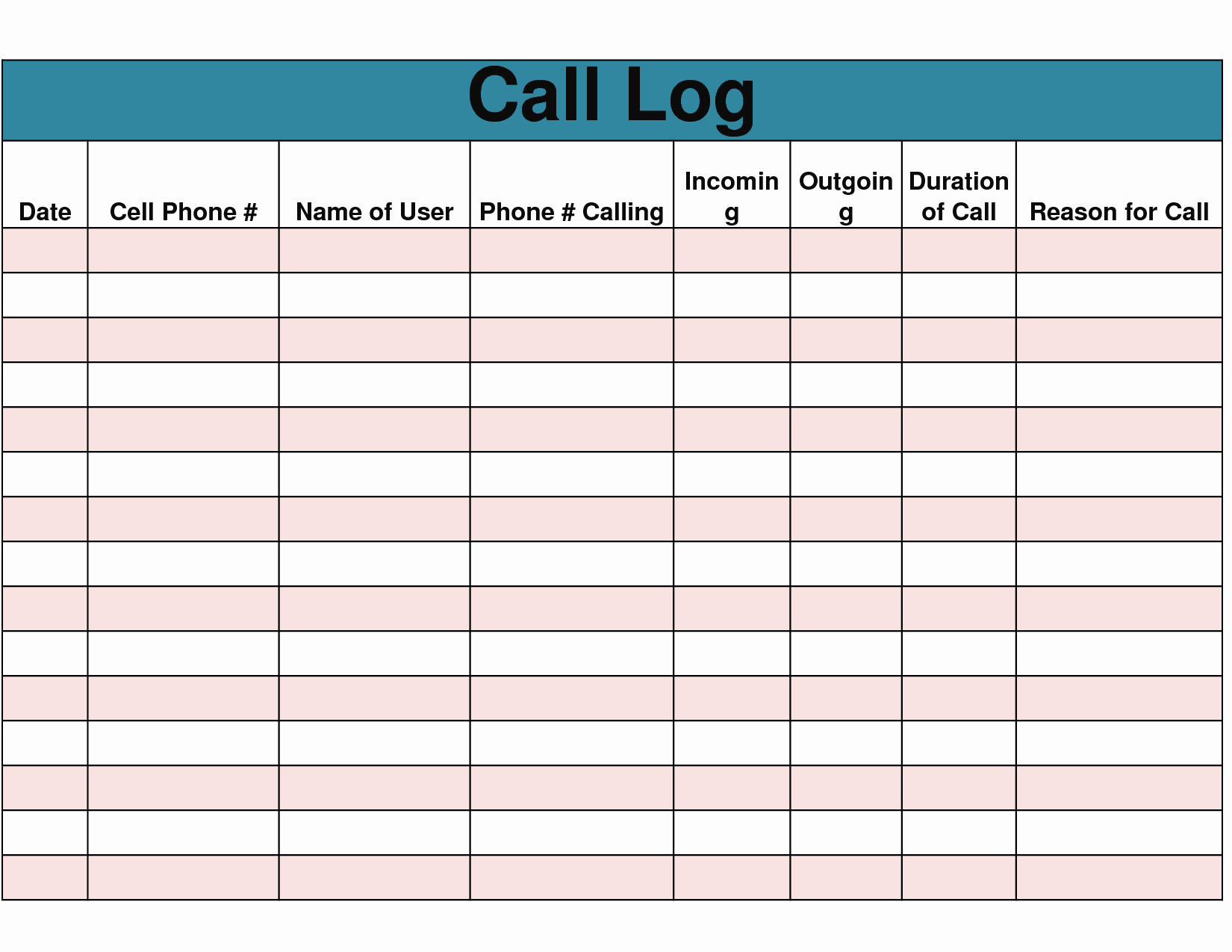 Phone Call Log Template Free Best Of 9 Best Of Free Printable Phone Log form Free