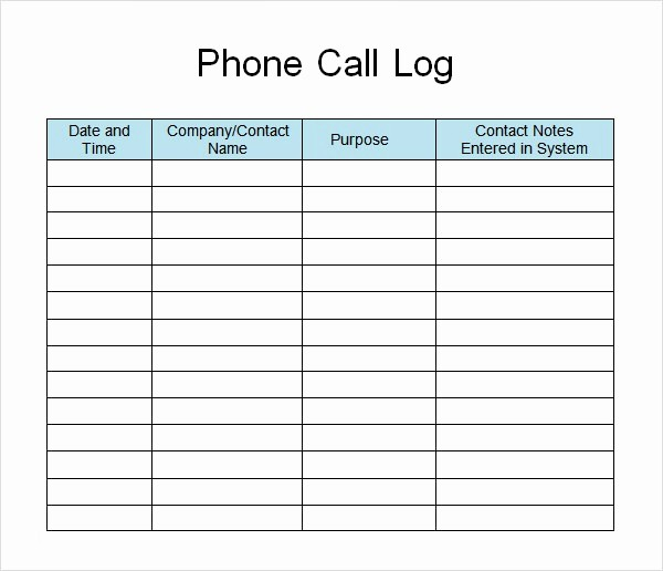 Phone Call Log Template Free Best Of Call Log Template