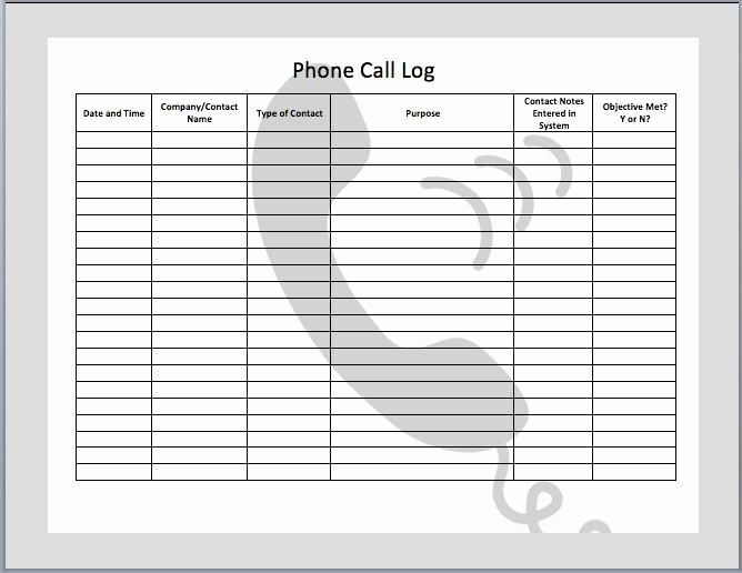 Phone Call Log Template Free Elegant 11 Best Call Log Ideas Images On Pinterest