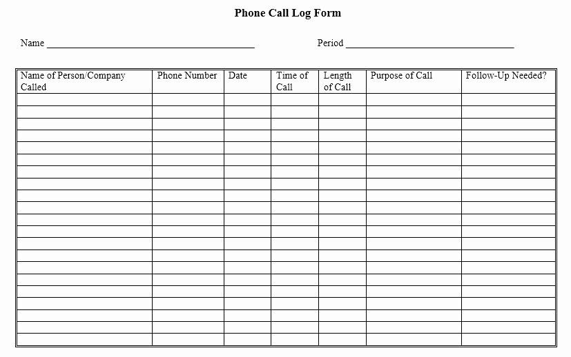Phone Call Log Template Free Inspirational 11 Free Sample Telephone Log Templates Printable Samples