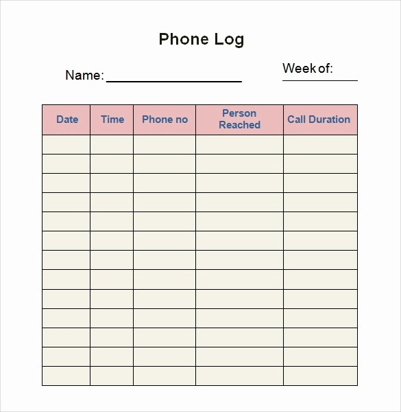 Phone Call Log Template Free Lovely 28 Log Templates