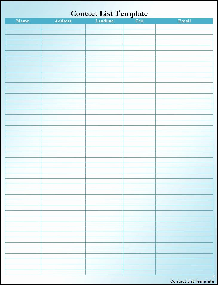 Phone List Template for Word Awesome 5 Best Of Printable Number and Name List Phone