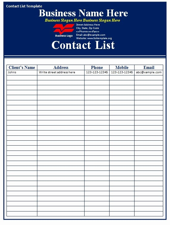 Phone List Template for Word Awesome Contact List Template Free formats Excel Word