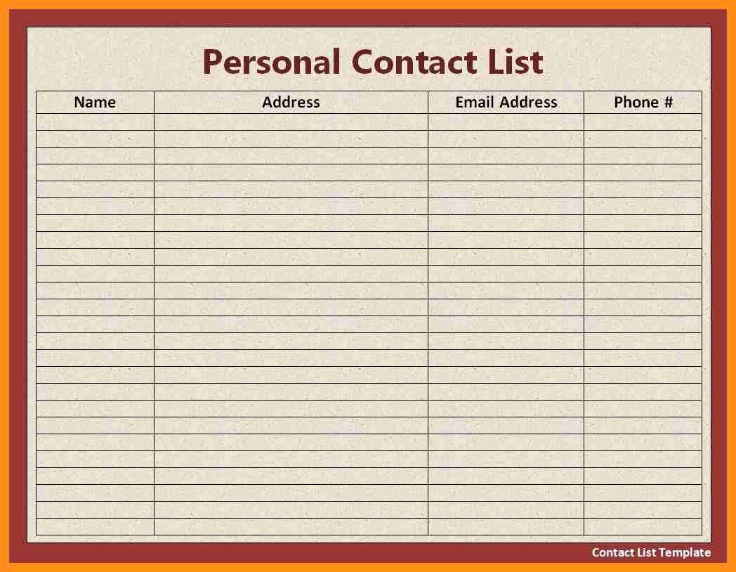 Phone List Template for Word Beautiful Contact List Template Daily Template Trakore Document