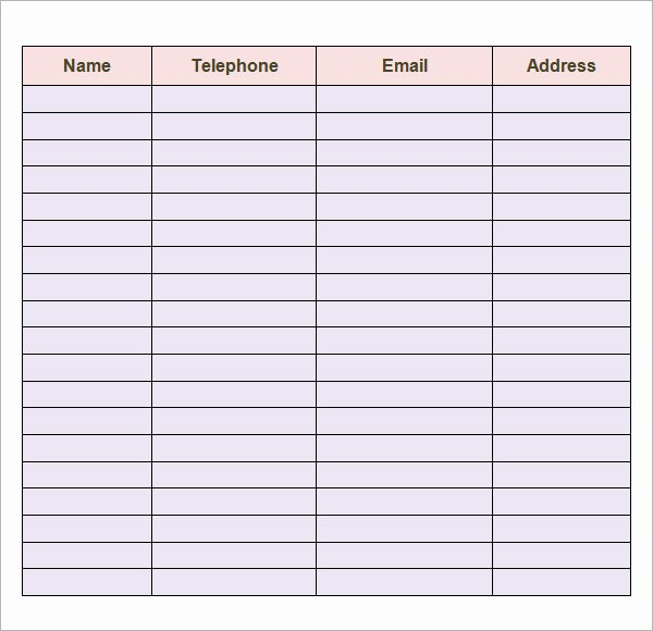 Phone List Template for Word Inspirational Contact List Template 14 Download Free Documents In Pdf