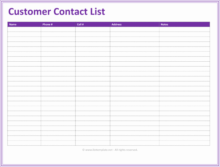 Phone List Template for Word Inspirational Customer Contact List Template