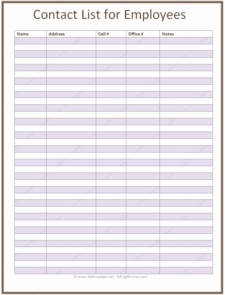 Phone List Template for Word New Employee Contact List Template Basic List Templates