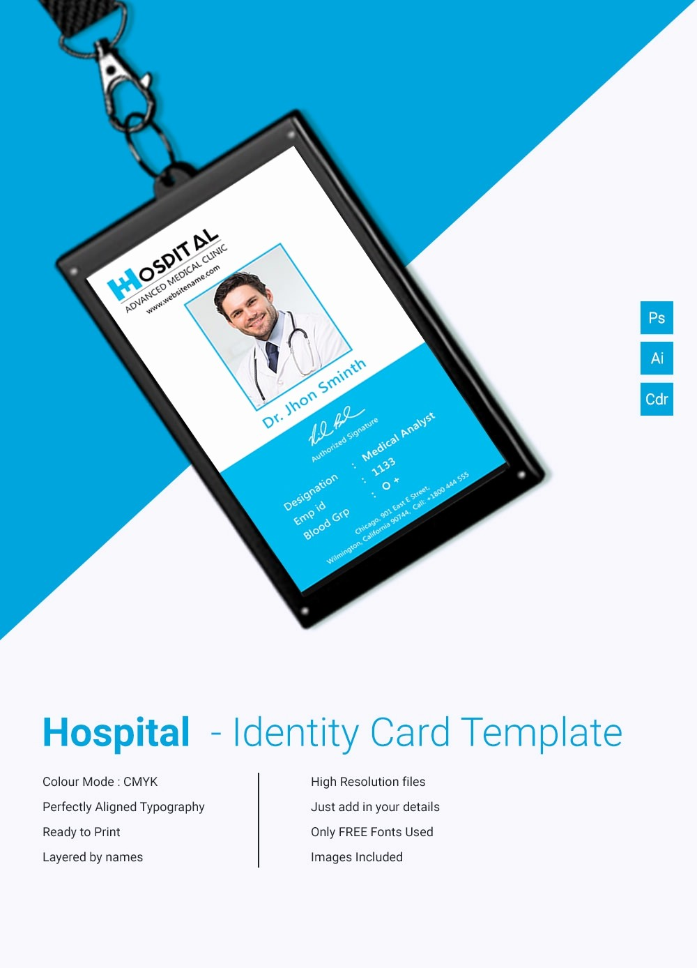 Photo Id Template Free Download Elegant 18 Id Card Templates – Free Psd Documents Download