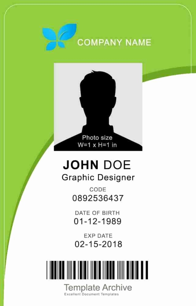 Photo Id Template Free Download Lovely Id Card Template