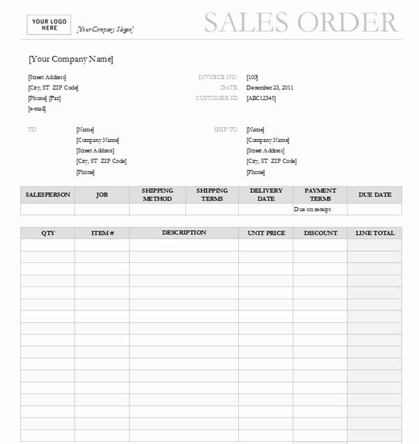 Photography order form Template Excel Elegant Sales order Templates