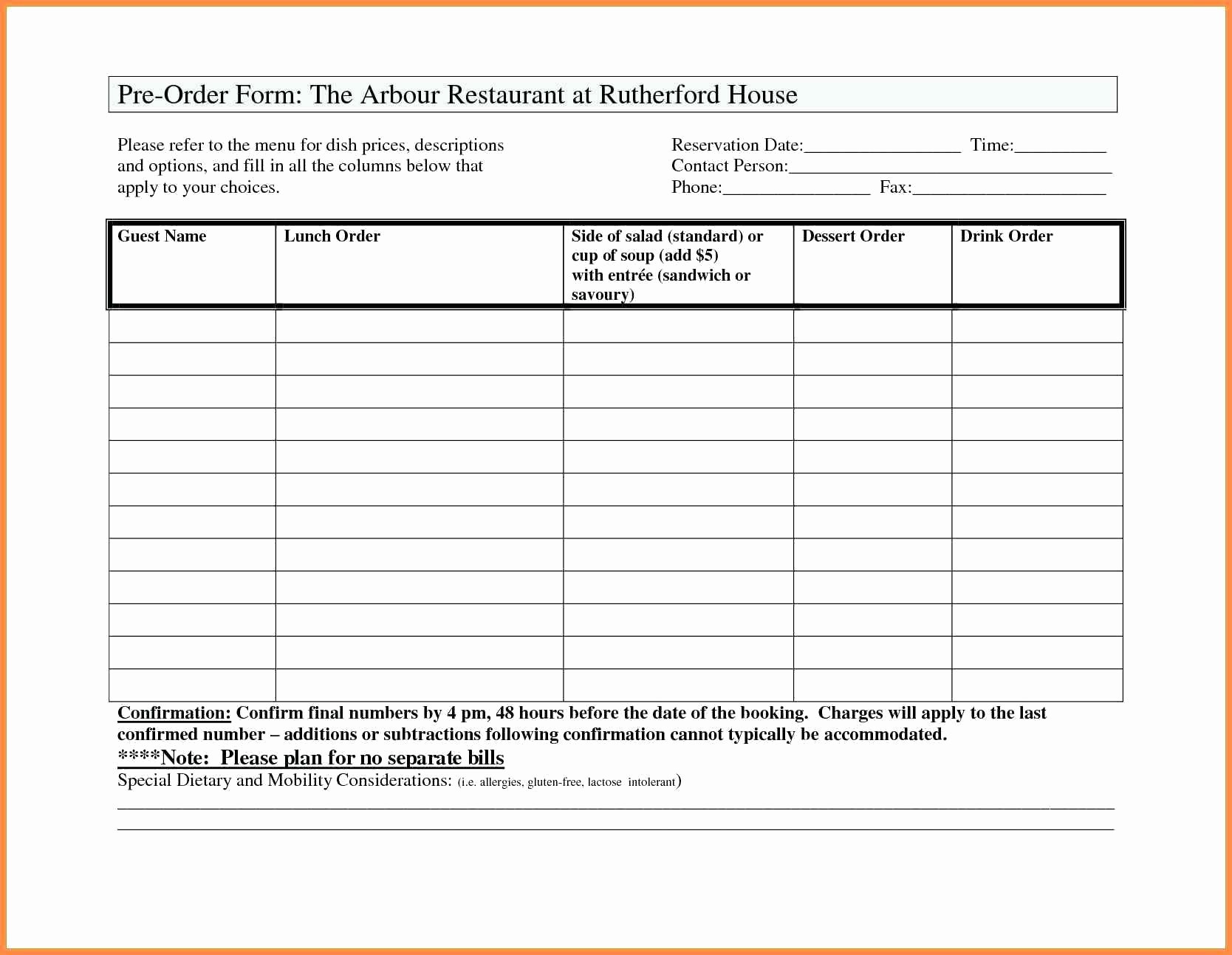 Photography order form Template Excel Luxury Template Excel Template order form