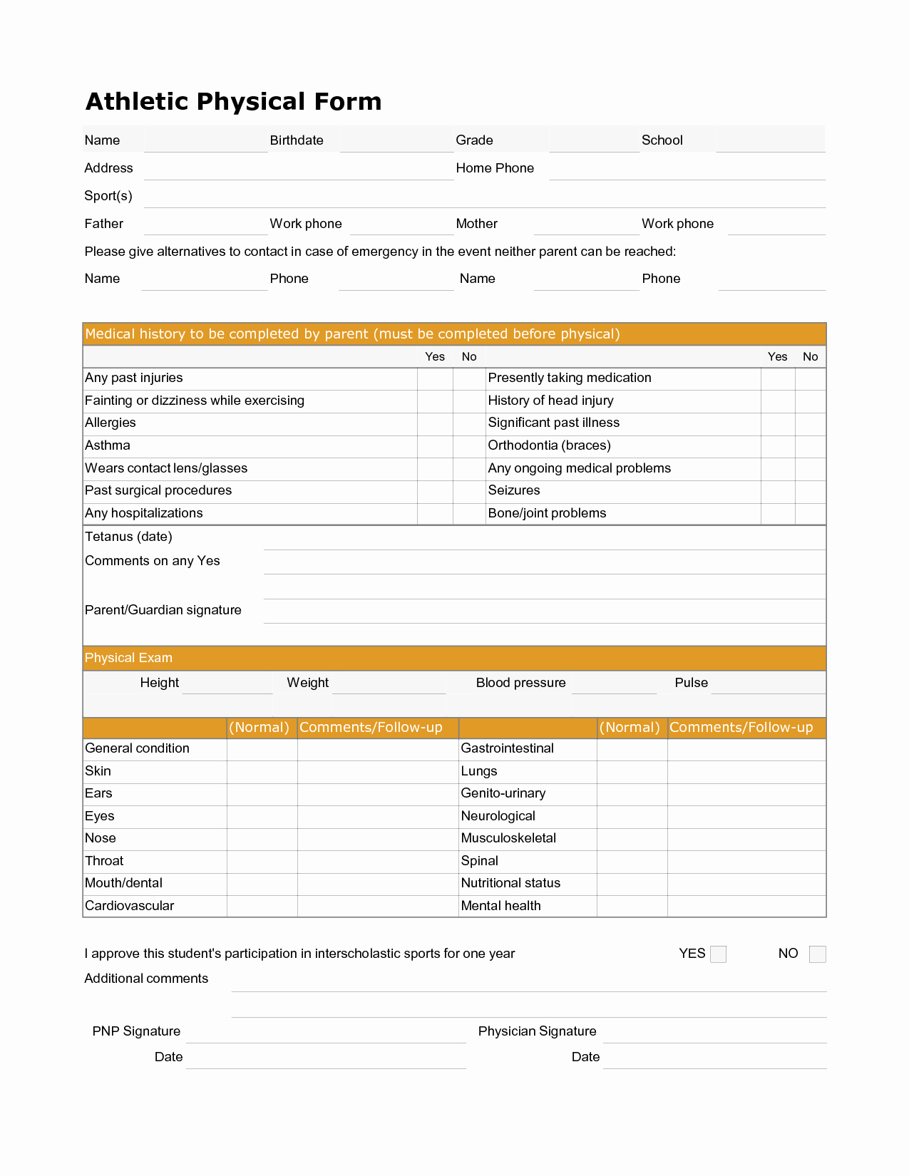 Physical Examination form for Work Awesome 9 Best Of Free Printable Fice Documents Free
