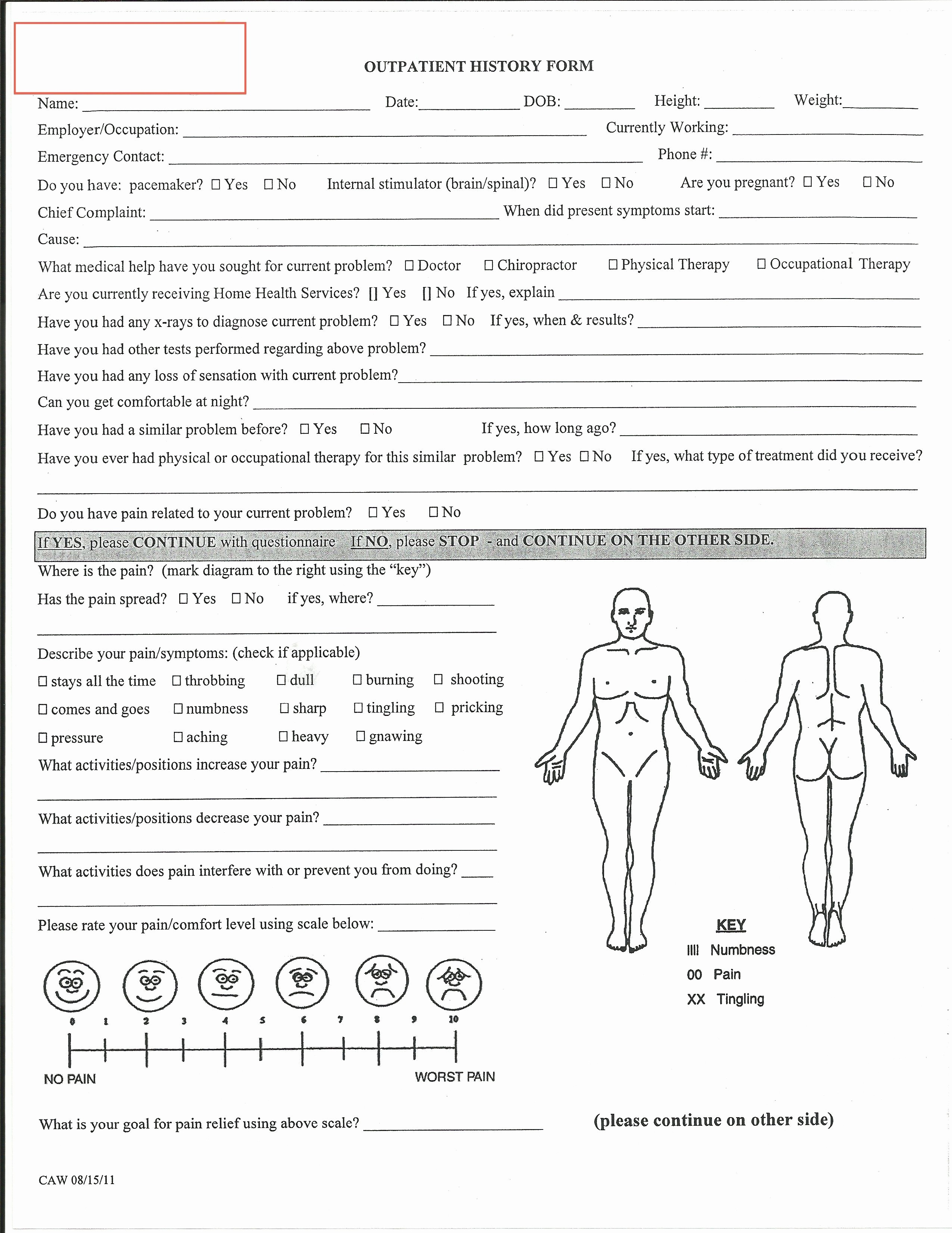 Physical Examination form for Work Beautiful Evaluation Physical therapy Evaluation form Physical