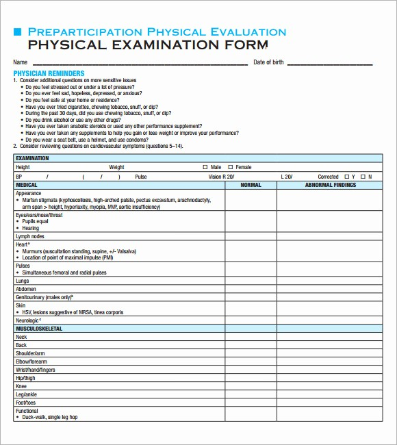 Physical Examination form for Work Best Of 9 Sample Physical Exam Templates to Download for Free