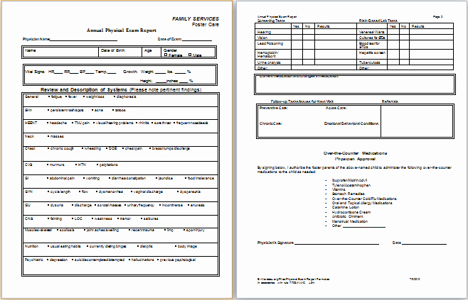 Physical Examination form for Work Elegant Physical Examination Report form