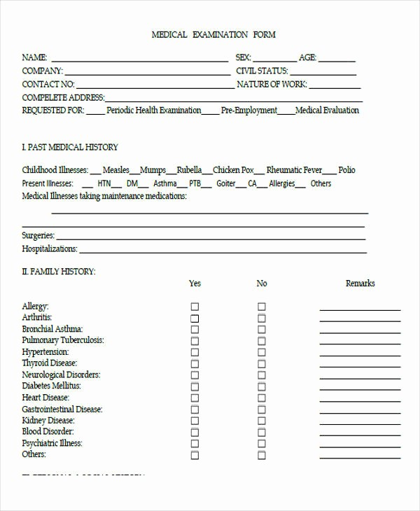 Physical Examination form for Work Fresh 43 Sample Medical forms In Pdf