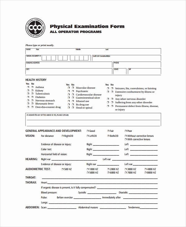 "Physical Examination form for Work Inspirational Search Results for ""physical Exam form for Employment"