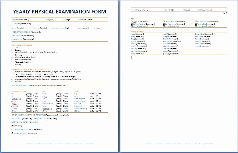 Physical Examination form for Work Inspirational Yearly Physical Examination form
