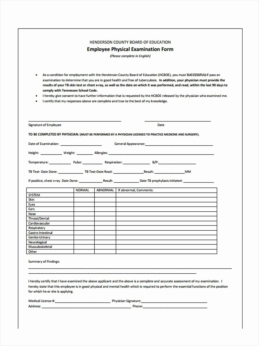 Physical Examination form for Work Luxury 5 Employment Physical form Sample Free Sample Example