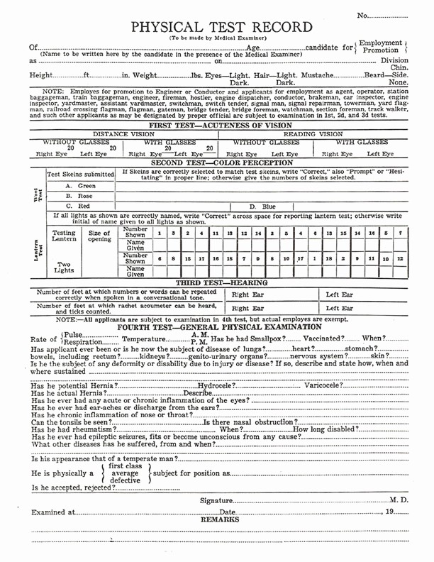Physical Examination form for Work Unique Yosemite Valley Railroad Details Employee Application