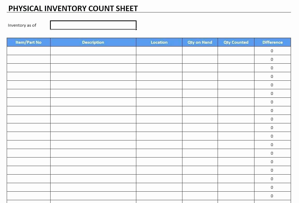 Physical Inventory Count Sheet Template Fresh Template Inventory Excel Template