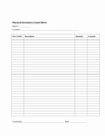 Physical Inventory Count Sheet Templates Inspirational Download Inventory Checklist Template Excel Pdf