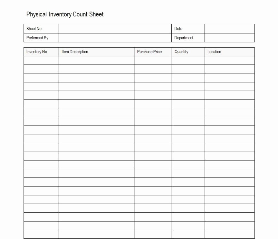Physical Inventory Count Sheet Templates Lovely Free Inventory Count Sheet Printable Spreadsheets Physical