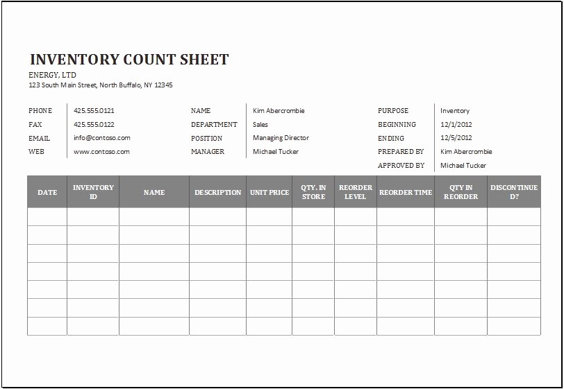 Physical Inventory Count Sheet Templates Lovely Physical Inventory Count Sheet Template for Excel