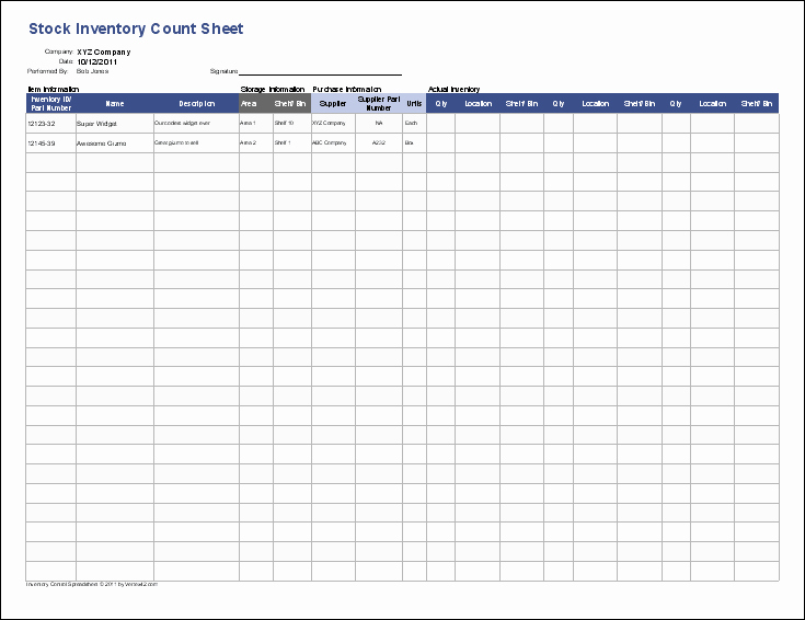 Physical Inventory Count Sheet Templates Unique Inventory Control Template Stock Inventory Control