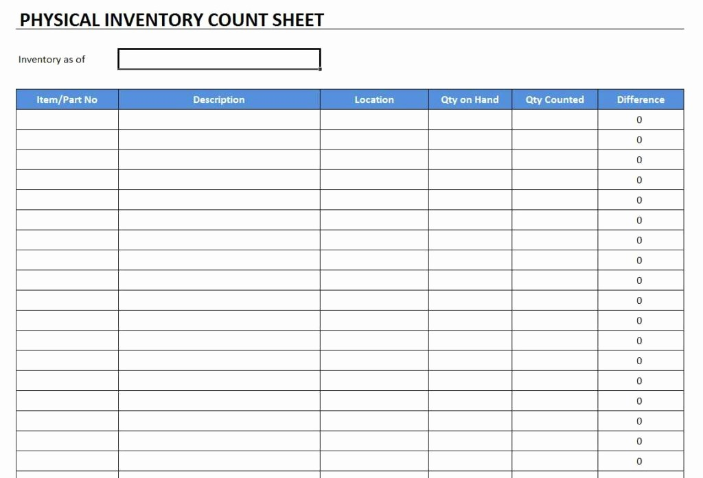 Physical Inventory Count Sheet Templates Unique Physical Inventory Count Sheet Template Free Excel