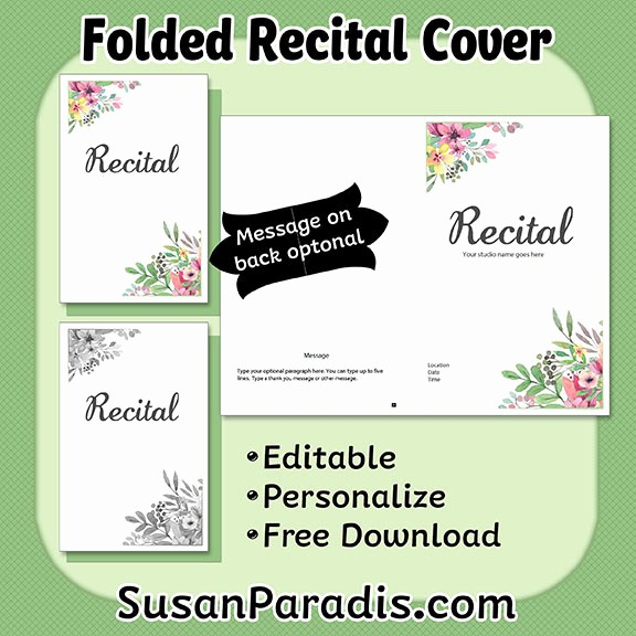 Piano Recital Program Template Free Awesome Personalize A Recital Program Susan Paradis Piano