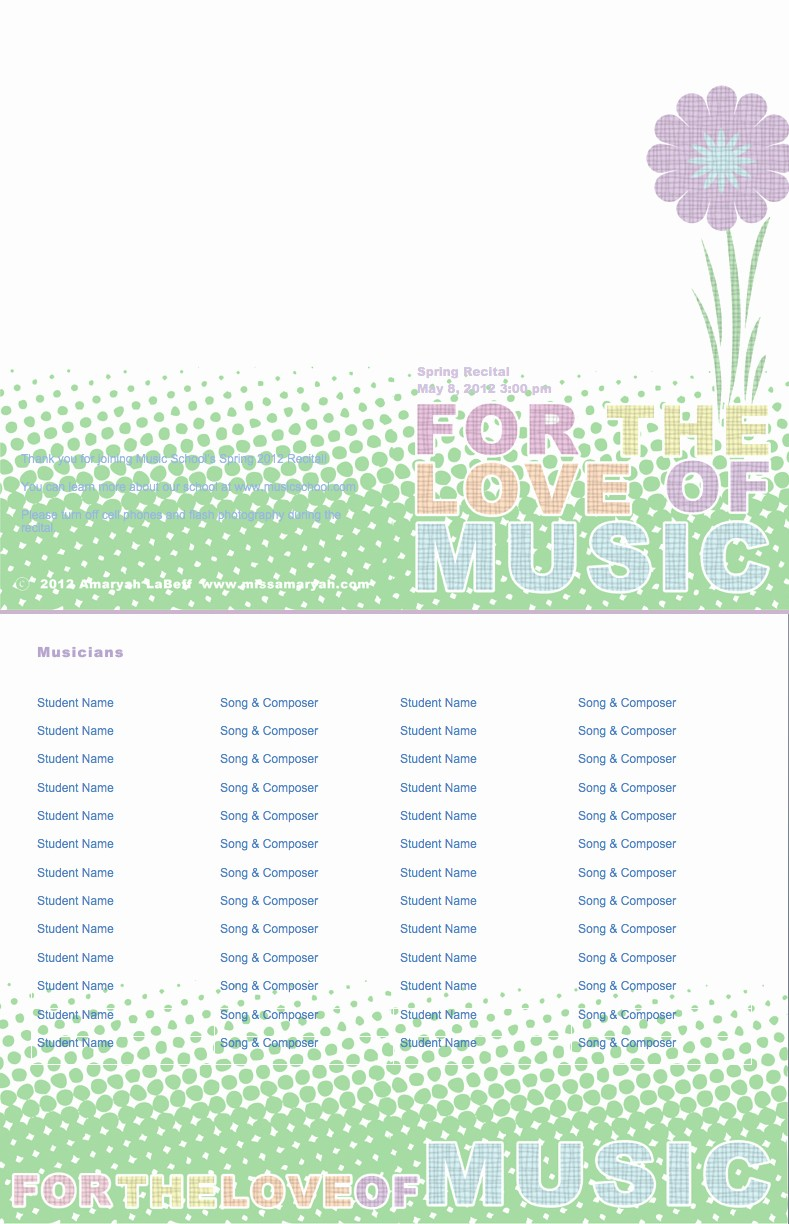 Piano Recital Program Template Free Awesome Recital Programs format Mmanager