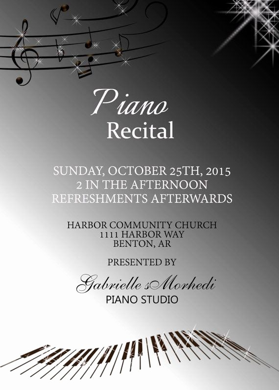 Piano Recital Program Template Free Beautiful 17 Best Images About Piano Recital Invitations On
