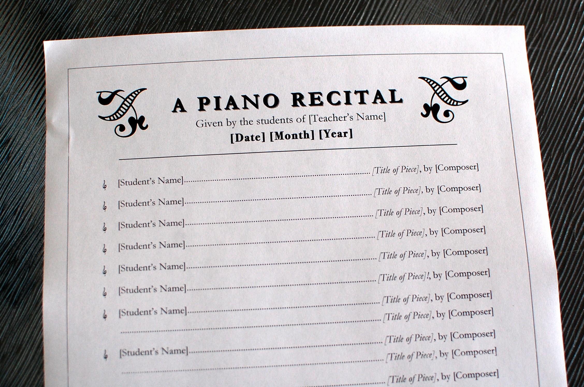 Piano Recital Program Template Free Beautiful Printables