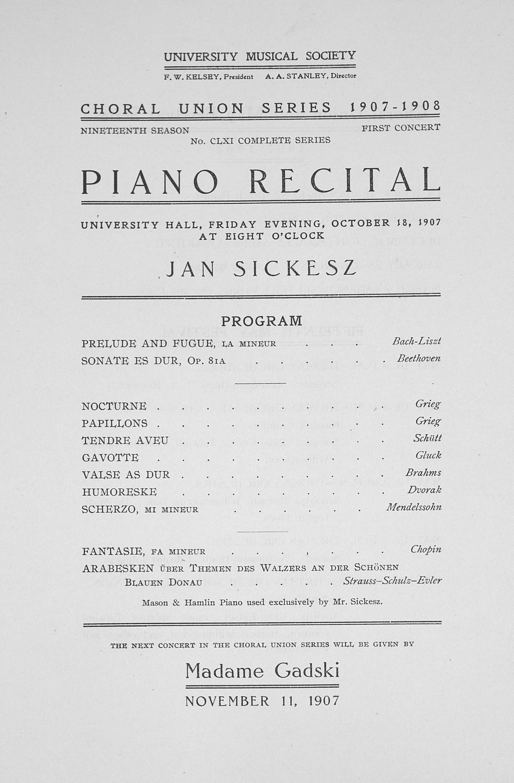 Piano Recital Program Template Free Beautiful Ums Concert Program October 18 1907 Choral Union Series