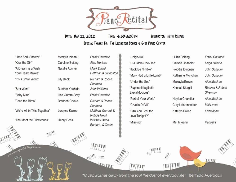 Piano Recital Program Template Free Best Of Piano Recital Program Template Vue Con 2017