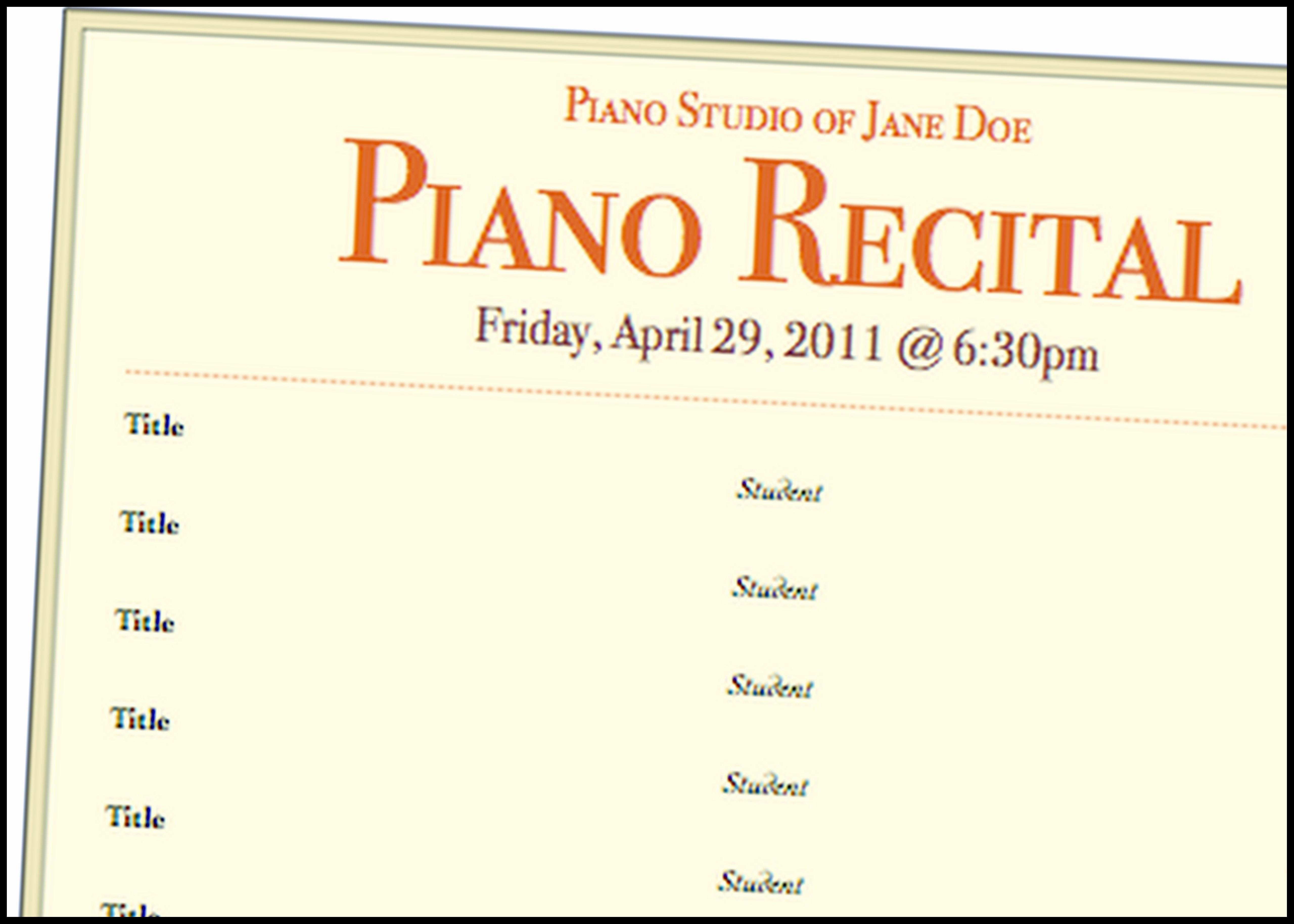 Piano Recital Program Template Free Elegant Just Added Recital Program Template 3