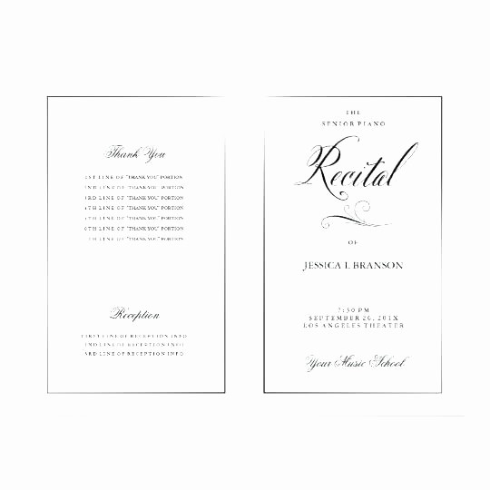 Piano Recital Program Template Free Fresh Blank Invitation Cards Staples Black White Music Recital