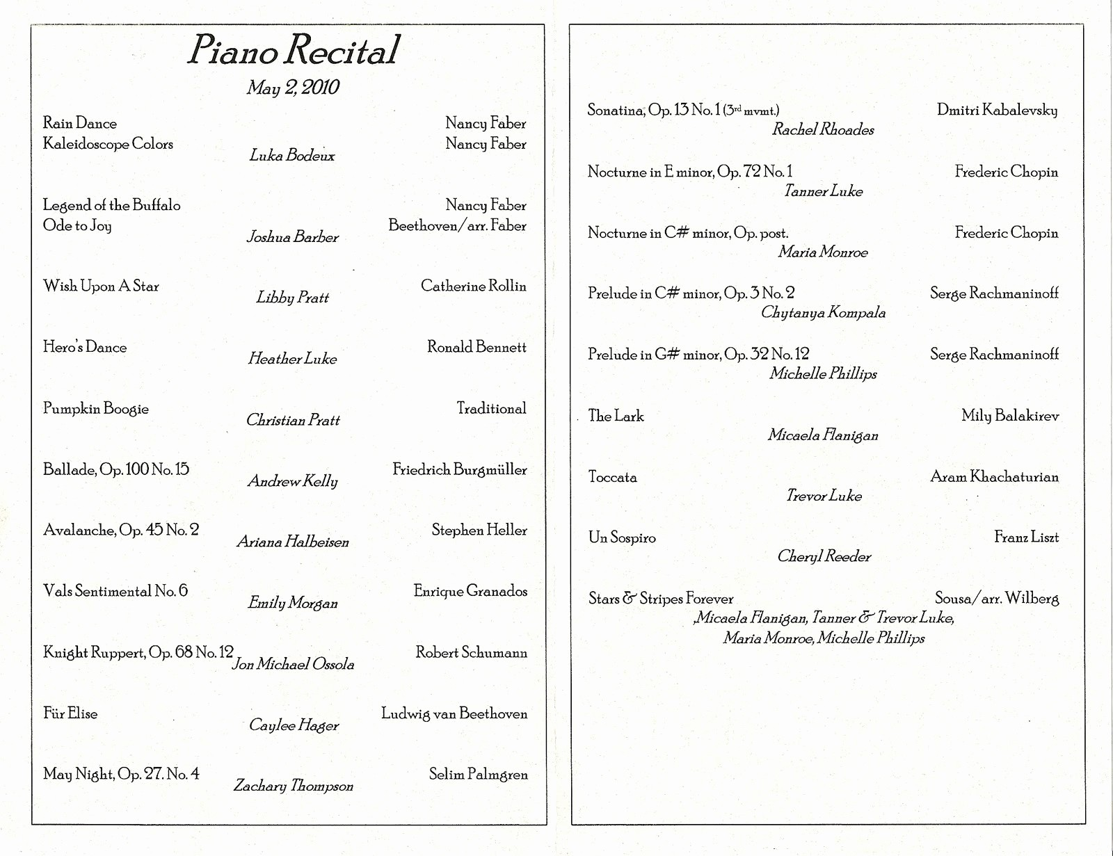 Piano Recital Program Template Free Fresh Bodeux Blog April & May Family Videos