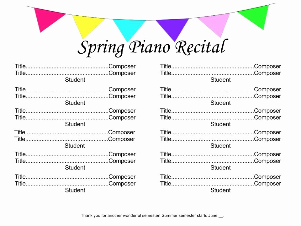Piano Recital Program Template Free Lovely Recital Time 4dpianoteaching
