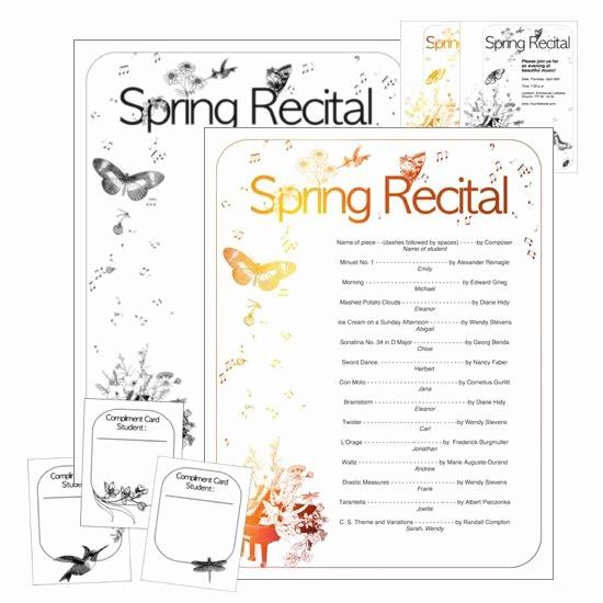 Piano Recital Program Template Free Luxury 2017 Spring Recital Program Package Editable Recital