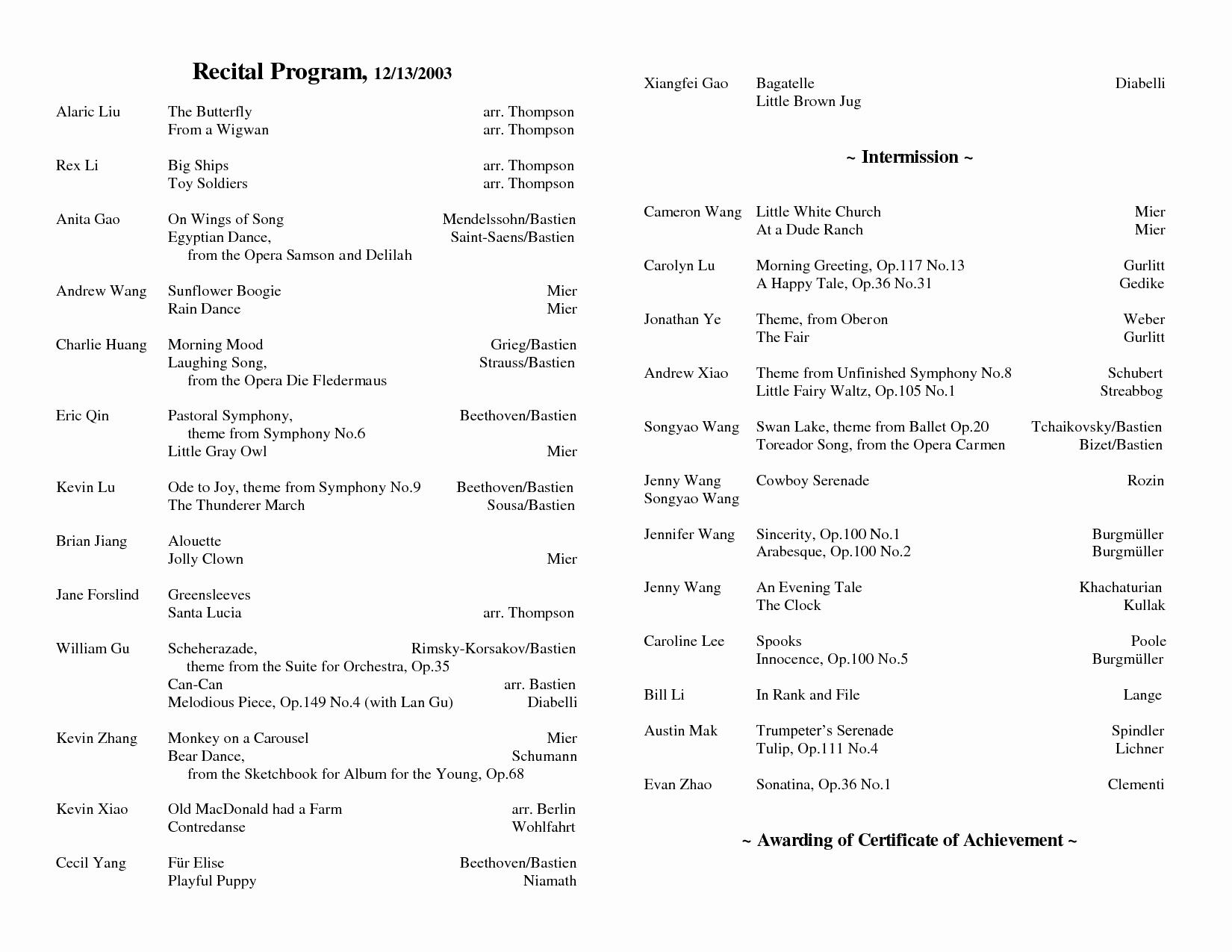 Piano Recital Program Template Free Luxury 5 Best Of Christmas Piano Recital Program Template