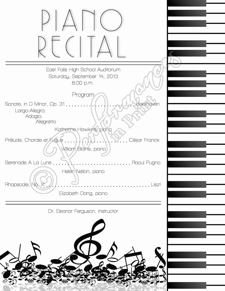 Piano Recital Program Template Free Unique top 25 Ideas About Piano Recital On Pinterest