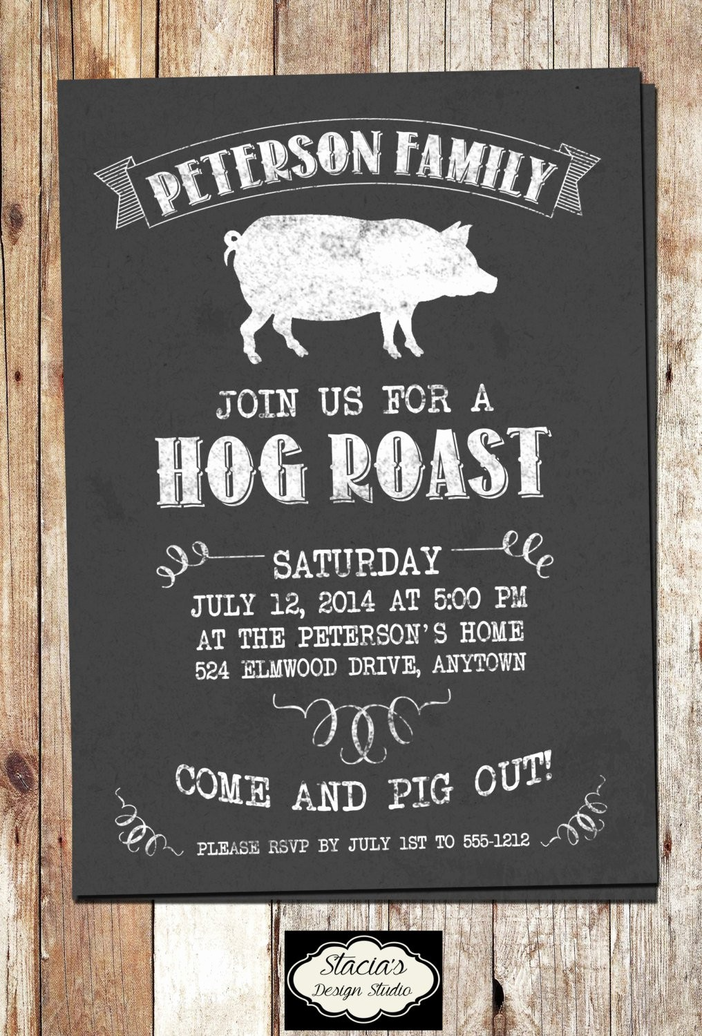 Pig Roast Invitation Template Free Awesome Customized Hog Roast or Pig Roast Printable by