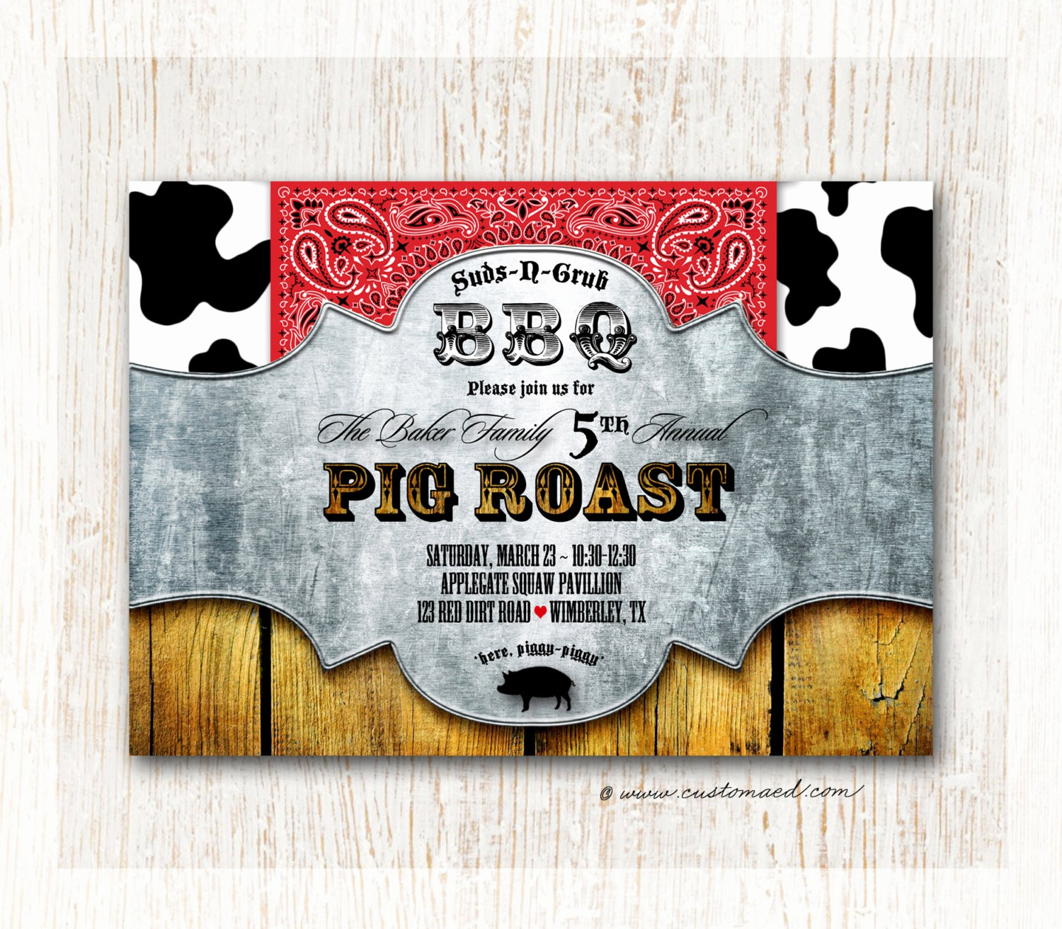 bbq pig roast invitation family reunion